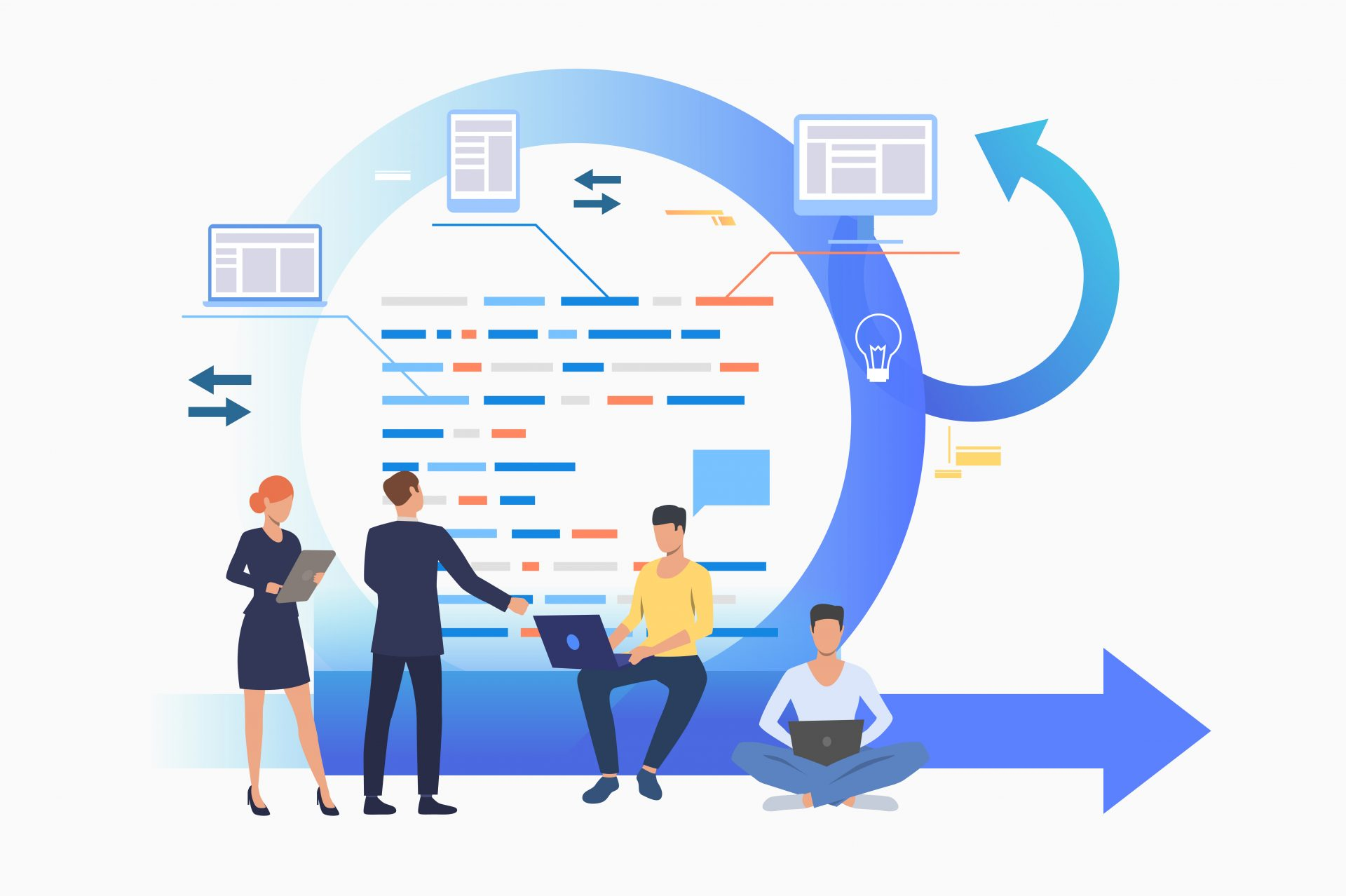 Teem discussing project at Kanban board. Scrum meeting, conversation, working on laptop. Business concept. Vector illustration can be used for presentation slides, landing pages, posters